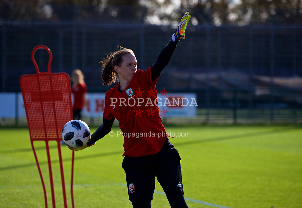 NEWPORT, WALES - Tuesday, November 6, 2018: Wales' goalkeeper Laura O'Sullivan during a training session at Dragon Park ahead of two games against Portugal. (Pic by Paul Greenwood/Propaganda)