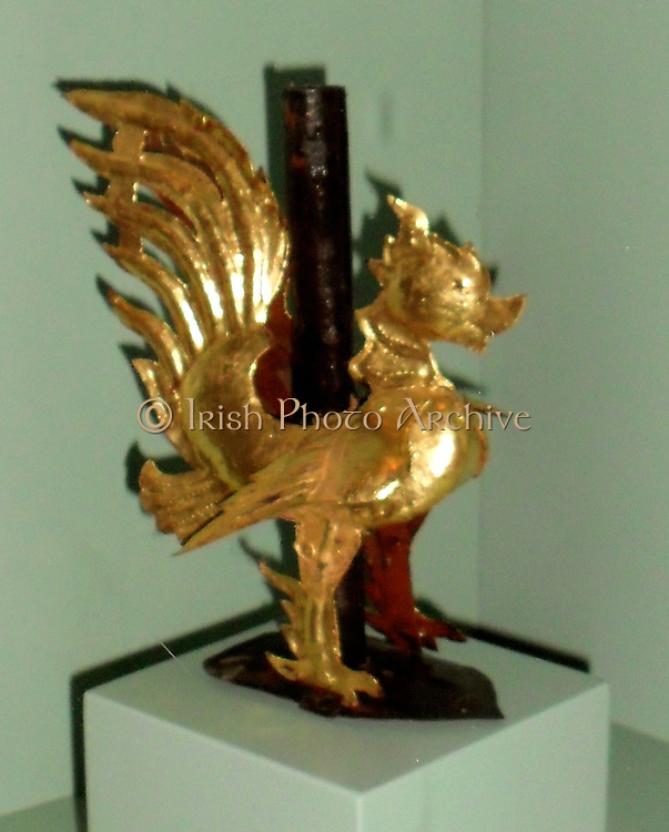Buddhist temple decoration in the form of a bird. The bird is a Hinta (mythological duck). Tin overlaid in gold leaf. Thailand early 20th century.