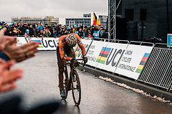 Mathieu VAN DER POEL of the Netherlands after finishing the Men Elite race, UCI Cyclo-cross World Championship at Bieles, Luxembourg, 29 January 2017. Photo by Pim Nijland / PelotonPhotos.com | All photos usage must carry mandatory copyright credit (Peloton Photos | Pim Nijland)