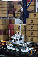 Containers being loaded upon vessel in Cristobal, Panama.  Photograph by Dennis Brack