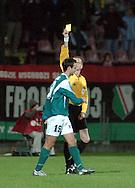 n/z.: sedzia Krzysztof Slupik (ZPN Tarnow) , zolta kartka , Mico Vranjes (nr19-Groclin) , Legia Warszawa (biale) - Groclin Grodzisk Wielkopolski (zielone) 0:1 , I liga polska , 9 kolejka sezon 2004/2005 , pilka nozna , Polska , Warszawa , 16-10-2004 , fot.: Adam Nurkiewicz / mediasport.pl..refree Krzysztof Slupik (ZPN Tarnow) , yellow card , Mico Vranjes (nr19-Groclin) during Polish league first division soccer match in Warsaw. October 16, 2004 ; Legia Warszawa (white) - Groclin Grodzisk Wielkopolski (green) 0:1 ; first division , 9 round season 2004/2005 , football , Poland , Warsaw ( Photo by Adam Nurkiewicz / mediasport.pl )