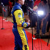 Driver Ricky Stenhouse Jr., the boyfriend of driver Danica Patrick, speaks with the media during the NASCAR Media Day event at Daytona International Speedway on Thursday, February 14, 2013 in Daytona Beach, Florida.  (AP Photo/Alex Menendez)