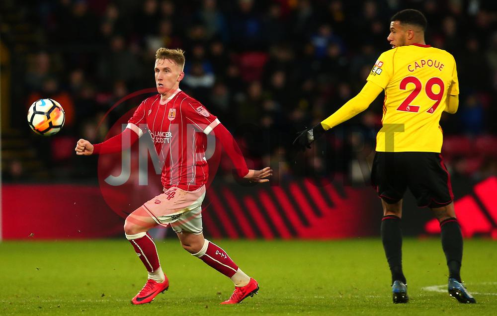 Connor Lemonheigh-Evans of Bristol City goes past Etienne Capoue of Watford - Mandatory by-line: Robbie Stephenson/JMP - 06/01/2018 - FOOTBALL - Vicarage Road - Watford, England - Watford v Bristol City - Emirates FA Cup third round proper