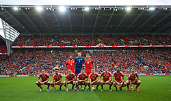 CARDIFF, WALES - Sunday, October 9, 2016: Wales' players line up for a team group photograph before the 2018 FIFA World Cup Qualifying Group D match against Georgia at the Cardiff City Stadium. Back row L-R:  aw', goalkeeper Wayne Hennessey, Sam Vokes. Front row L-R: Chris Gunter, Neil Taylor, Andy King, Ben Davies, David Edwards, James Chester, Joe Ledley, Gareth Bale. (Pic by David Rawcliffe/Propaganda)