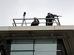 © Licensed to London News Pictures. 05/10/2011. MANCHESTER. UK. A police rooftop sniper gun and look out at The Conservative Party Conference at Manchester Central today, October 5, 2011. Photo credit:  Stephen Simpson/LNP