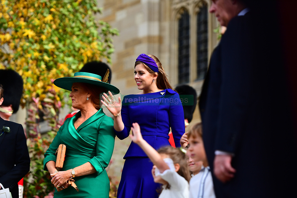 Princess Beatrice and her mother Sarah Ferguson outside St George's Chapel, Windsor Castle, following the wedding of Princess Eugenie to Jack Brooksbank.