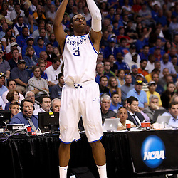 Mar 19, 2011; Tampa, FL, USA; Kentucky Wildcats forward Terrence Jones (3) during the second half of the third round of the 2011 NCAA men's basketball tournament against the West Virginia Mountaineers at the St. Pete Times Forum. Kentucky defeated West Virginia 71-64.  Mandatory Credit: Derick E. Hingle