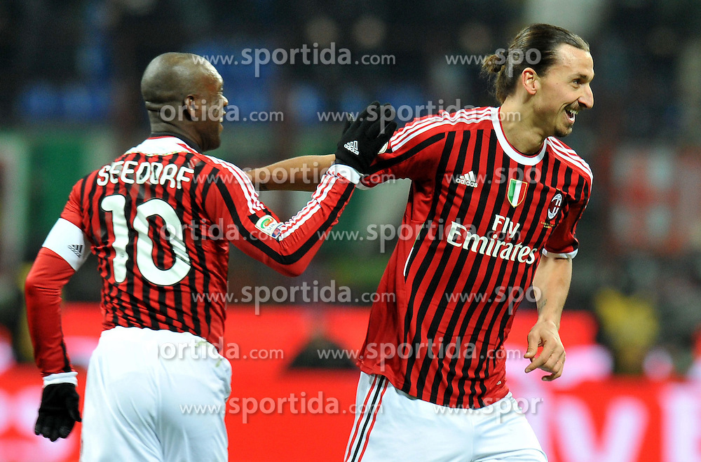 29.01.2012, Stadion Giuseppe Meazza, Mailand, ITA, Serie A, AC Mailand vs Cagliari Calcio, 20. Spieltag, im Bild Zlatan IBRAHIMOVIC (Milan) goal celebration, // during the football match of Italian 'Serie A' league, 20th round, between AC Mailand and Cagliari Calcio at Stadium Giuseppe Meazza, Milan, Italy on 2012/01/29. EXPA Pictures © 2012, PhotoCredit: EXPA/ Insidefoto/ Alessandro Sabattini..***** ATTENTION - for AUT, SLO, CRO, SRB, SUI and SWE only *****