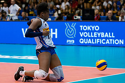 04-08-2019 ITA: FIVB Tokyo Volleyball Qualification 2019 / Netherlands, - Italy Catania<br /> last match pool F in hall Pala Catania between Netherlands - Italy for the Olympic ticket. Italy win 3-0 and take the ticket to the Olympics / Miryam Fatime Sylla #17 of Italy