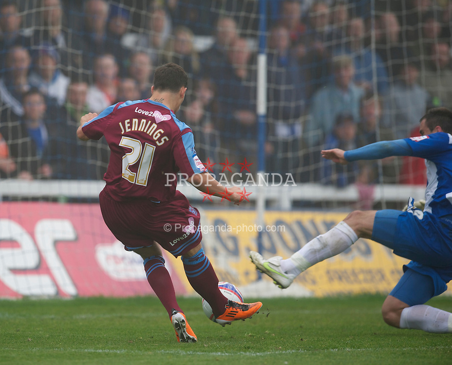 HARTLEPOOL, ENGLAND - Friday, April 22, 2011: Tranmere Rovers' Dale Jennings scores an equalising goal against Hartlepool United to level the scores 1-1 during the Football League One match at Victoria Park. (Photo by David Rawcliffe/Propaganda)