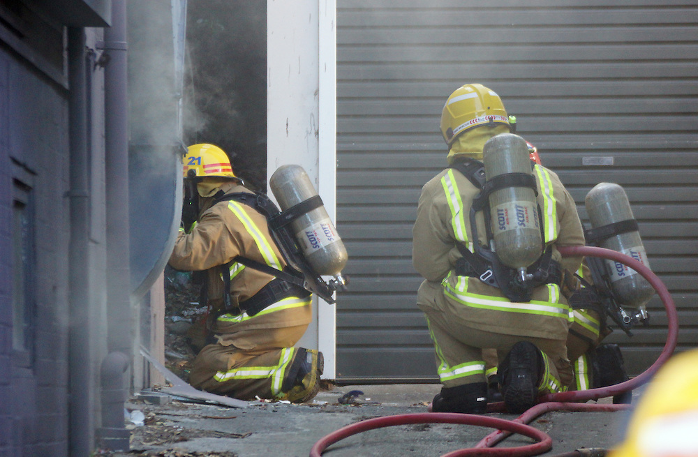 Fire crews respond to a kitchen fire at Beach Babylon Cafe on Oriental Bay Parade, Wellington, New Zealand, Monday, February 2016. Credit:SNPA / Derek Quinn