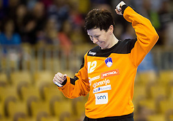 Sergeja Stefanisin of Slovenia reacts during handball match between Women National teams of Slovenia and Serbia in 2nd Round of Qualifications for 2014 EHF European Championship on October 27, 2013 in Hala Tivoli, Ljubljana, Slovenia. Slovenia defeated Serbia 31-26. (Photo by Vid Ponikvar / Sportida)