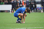 AFC Wimbledon defender Will Nightingale (5) after the final whistle during the EFL Sky Bet League 1 match between AFC Wimbledon and Plymouth Argyle at the Cherry Red Records Stadium, Kingston, England on 21 October 2017. Photo by Matthew Redman.