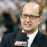 26 May 2012: ESPN Jeff Van Gundy is seen prior to the Boston Celtics 85-75 victory over the Philadelphia Sixer, in Game 7 of the Eastern Conference semifinals playoff series, at the TD Banknorth Garden, Boston, Massachusetts, USA.