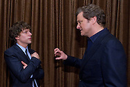 COLIN FIRTH AND JESSE EISENBERG.at the Academy of Motion Picture Arts and Sciences' Oscar® Nominees Luncheon, Beverly Hilton_07/02/2011.Academy Awards for outstanding film achievements of 2010 will be presented on Sunday, February 27, 2011 at the Kodak Theatre, Hollywood..MANDATORY PHOTO CREDIT: ©Harbaugh/NEWSPIX INTERNATIONAL . .(Failure to by-line the photograph will result in an additional 100% reproduction fee surcharge. You must agree not to alter the images or change their original content)..            *** ALL FEES PAYABLE TO: NEWSPIX INTERNATIONAL ***..IMMEDIATE CONFIRMATION OF USAGE REQUIRED:Tel:+441279 324672..Newspix International, 31 Chinnery Hill, Bishop's Stortford, ENGLAND CM23 3PS.Tel: +441279 324672.Fax: +441279 656877.Mobile: +447775681153.e-mail: info@newspixinternational.co.uk