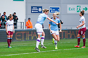 Manchester City Women forward Ellen White (18) scores a goal and celebrates to make the score 1-0 during the FA Women's Super League match between Manchester City Women and West Ham United Women at the Sport City Academy Stadium, Manchester, United Kingdom on 17 November 2019.