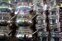 Silver ritual items for sale at the market at Klungklung in Bali Indonesia