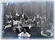 large extended family gathering picnic in the woods vintage 1900s