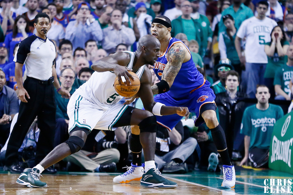 28 April 2013: New York Knicks power forward Kenyon Martin (3) defends on Boston Celtics center Kevin Garnett (5) during Boston Celtics 97-90 overtime victory over the New York Knicks during Game Four of the Eastern Conference Quarterfinals of the 2013 NBA Playoffs at the TD Garden, Boston, Massachusetts, USA.