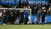 Photo: Steve Bond/Sportsbeat Images.<br />Macclesfield Town v Hereford United. Coca Cola League 2. 26/12/2007. Graham Turner (R) and the rest of the bench look tense during the closing minutes