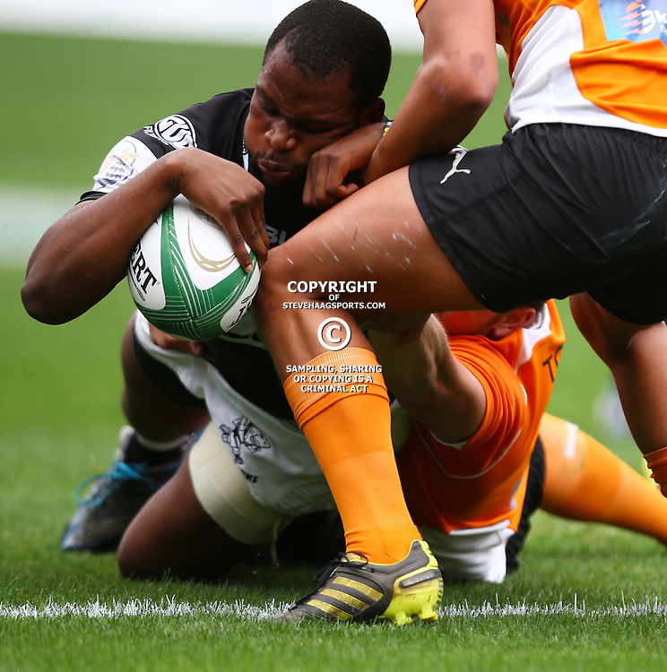 DURBAN, SOUTH AFRICA - SEPTEMBER 10:Mthokozisi Ntuli of the Cell C Sharks Under 19's over for a try during the Currie Cup U19 match between the Sharks and Free State at Growthpoint Kings Park on September 10, 2016 in Durban, South Africa. (Photo by Steve Haag/Gallo Images)