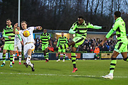 Forest Green Rovers Manny Monthe(6) shoots at goal during the EFL Sky Bet League 2 match between Forest Green Rovers and Port Vale at the New Lawn, Forest Green, United Kingdom on 6 January 2018. Photo by Shane Healey.