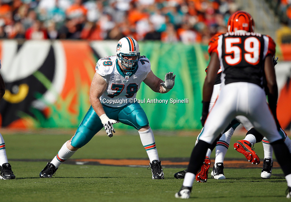 Miami Dolphins offensive tackle Pat McQuistan (79) blocks during the NFL week 8 football game against the Cincinnati Bengals on Sunday, October 31, 2010 in Cincinnati, Ohio. The Dolphins won the game 22-14. (©Paul Anthony Spinelli)