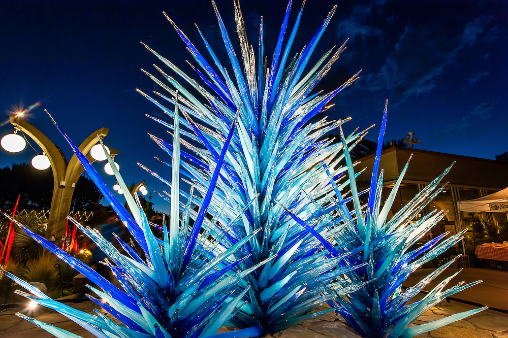 """""""Blue Icicle Towers"""", Dale Chihuly Exhibition (blown glass), Denver Botanic Gardens, Denver, Colorado USA."""