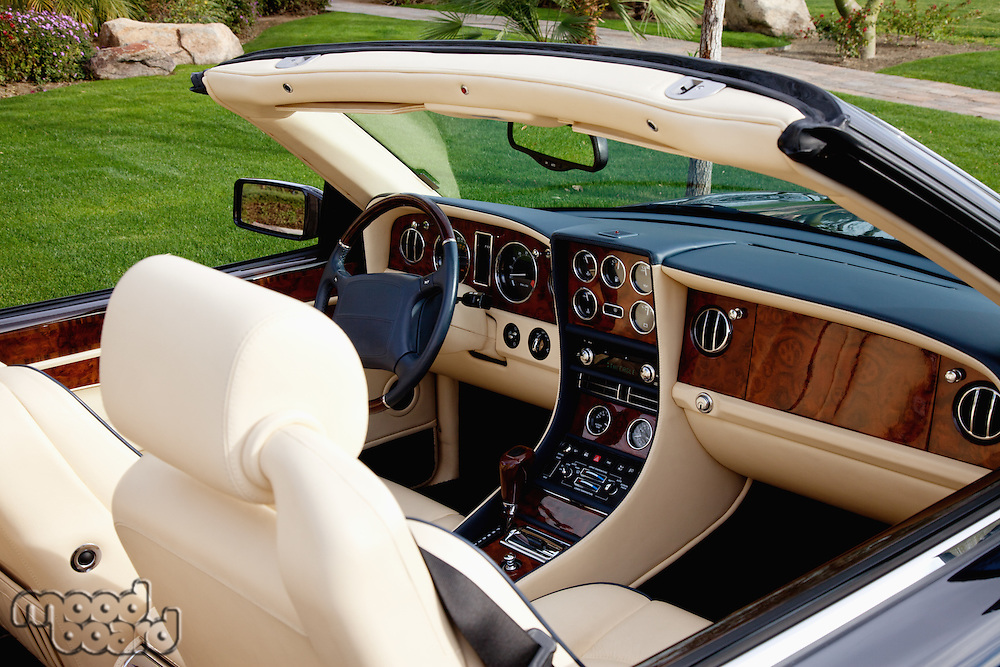 Close-up view of luxury car's interior with hi-tech dashboard