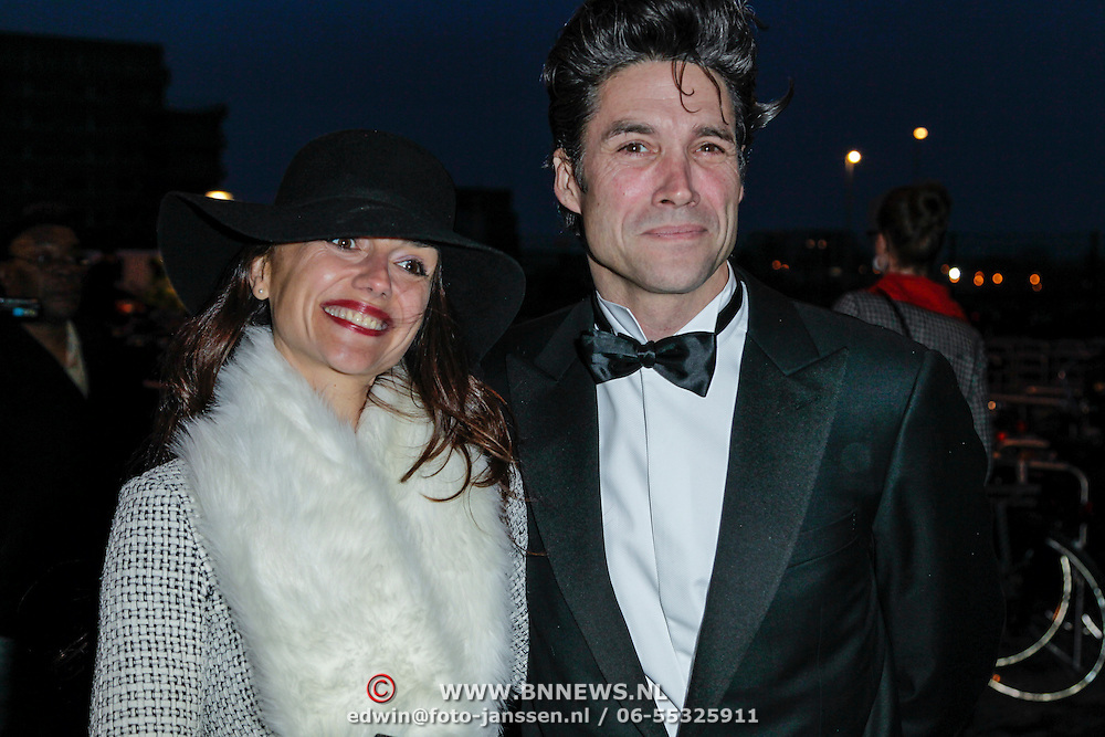 NLD/Amsterdam/20120404 - Opening filmmuseum Eye, Daniel Boissevain en partner Vanessa Henneman