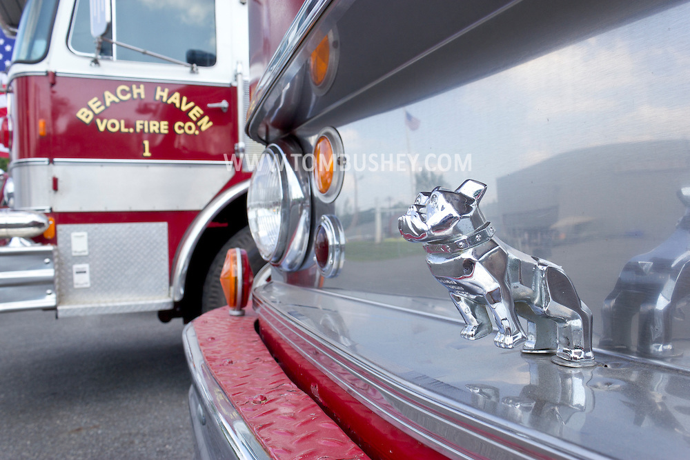Circleville, New York - A Mack Truck bulldog hood ornament on an antique fire truck was on display at the Catskill Fire Cats 36th Annual Muster on Aug. 4, 2012.