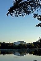 Fall sun illumiates Hunt Library on Centennial Campus.