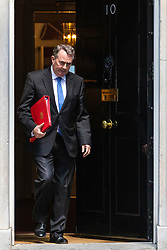 © Licensed to London News Pictures. 21/05/2019. London, UK. Secretary of State for International Trade Liam Fox leaves 10 Downing Street after the Cabinet meeting. Prime Minister Theresa May is expected to make a statement to Paliament outlining changes to the Withdrawal Agreement Bill before it is brought back before Parliament. Photo credit: Rob Pinney/LNP
