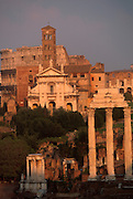 ITALY, ROME, ROMAN FORUM Castor Temple, Church and Colosseum
