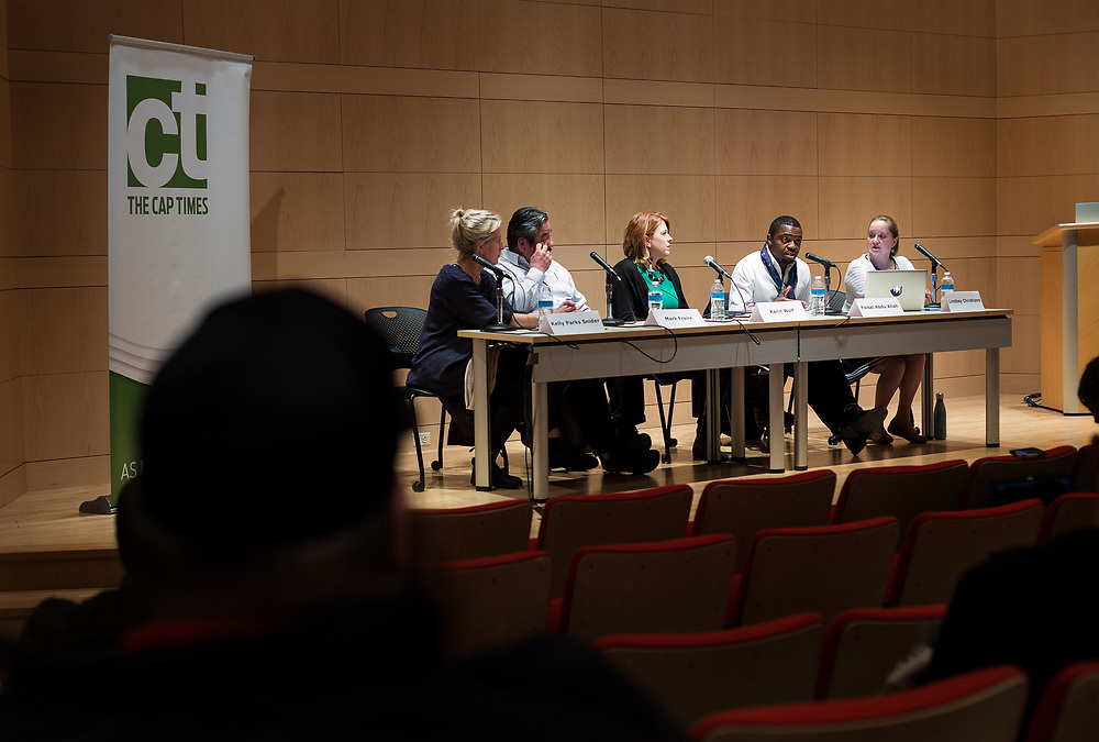 """Artist Faisal Abdu'allah speaks during the Capital Times Talk entitled """"How Can Madison get Better Public Art?"""" at the Madison Museum of Contemporary Art in Madison, Wisconsin, Wednesday, Feb. 21, 2018."""