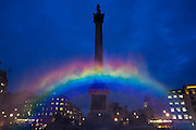 A rainbow is created artificially to promote a new C4 programme called Cucumber. It will air this week with a gay theme.