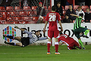 Dannie Bulman of AFC Wimbledon equalises just before half time during the Sky Bet League 2 match between Accrington Stanley and AFC Wimbledon at the Fraser Eagle Stadium, Accrington, England on 20 October 2015. Photo by Stuart Butcher.