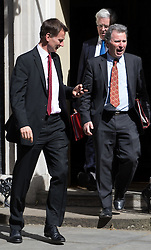 Downing Street, London, May 3rd 2016. Health Secretary Jeremy Hunt (L), Defence Secretary Michael Fallon and Chancellor of the Duchy of Lancaster and Policy Advisor Oliver Letwin (R) leave 10 Downing Street following the weekly cabinet meeting. ©Paul Davey<br /> FOR LICENCING CONTACT: Paul Davey +44 (0) 7966 016 296 paul@pauldaveycreative.co.uk
