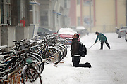 CHANGCHUN, CHINA - DECEMBER 11: (CHINA OUT) <br /> <br /> Man Kneels Down for 2 Hours in freezing snow pleading Meeting with His Girlfriend after they had a disagreement<br /> <br /> A man kneels down 2 hours for meeting his girlfriend on December 11, 2014 in Changchun, Jilin province of China. A man kneels down 2 hours for meeting his girlfriend after had a quarrel with her on December 11 in Jilin<br /> ©Exclusivepix Media