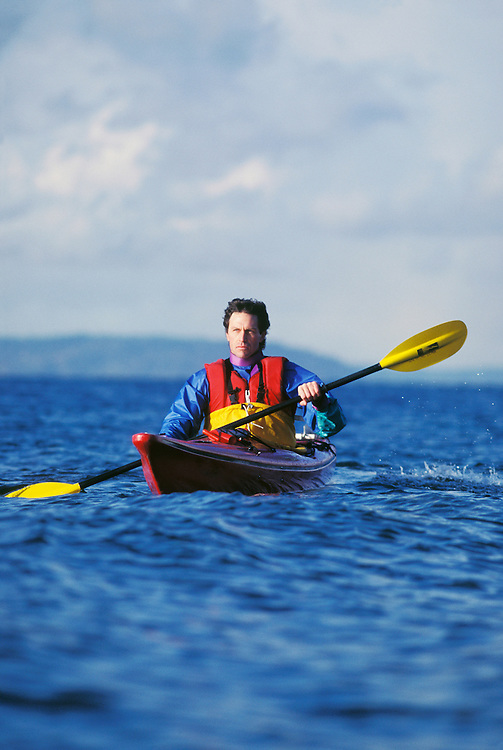 Man kayaking off Seattle Washington USA&amp;#xA;<br />