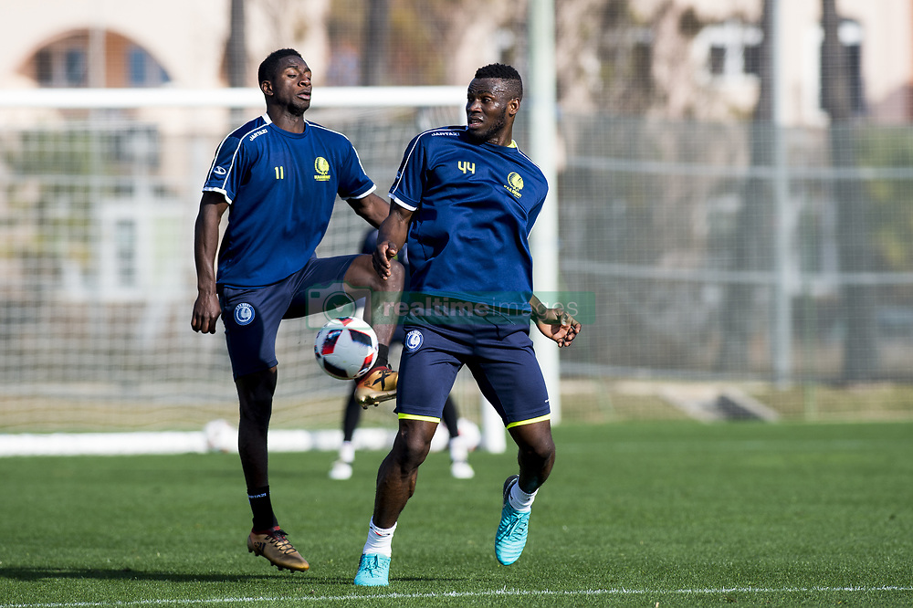 January 6, 2018 - Oliva, SPAIN - Gent's Deiver Machado and Gent's Anderson Esiti fight for the ball during the second day of the winter training camp of Belgian first division soccer team KAA Gent, in Oliva, Spain, Saturday 06 January 2018. BELGA PHOTO JASPER JACOBS (Credit Image: © Jasper Jacobs/Belga via ZUMA Press)