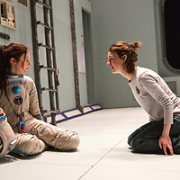 """""""X"""" by Alistair McDowell;<br /> Directed by Vicky Featherstone;<br /> Jessica Raine as Gilda;<br /> Rita Zmitrowicz as Mattie;<br /> 1 April 2016;<br /> Jerwood Theatre Downstairs, Royal Ct, London, UK"""