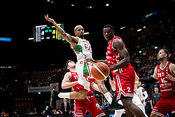 April 29, 2018 - Milan, Milan, Italy - Jordan Theodore (#25 EA7 Emporio Armani Milano) and Manuel Omogbo (#2 VL Pesaro) fight for a ball during a basketball game of Poste Mobile Lega Basket A between  EA7 Emporio Armani Milano vs VL Pesaro at Mediolanum Forum, in Milan, Italy, on April 29, 2018. (Credit Image: © Roberto Finizio/NurPhoto via ZUMA Press)