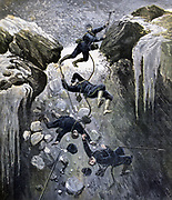 Mountaineering accident to French Alpine Chasseurs at 3,800 metres: Adjutant Rosier hit by falling block of ice. He and one other killed,  two of rescued seriously  injured.  From 'Le Petit Journal, Paris, 23 July 1892. Climber, Crevasse