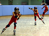 SPECIAL OLYMPICS ATHLETES ROLLER SKATERS DURING FIRST DAY COMPETITION IN THE HUANGPU ROLLER SKATING HALL AT THE SPECIAL OLYMPICS WORLD SUMMER GAMES SHANGHAI 2007..SPECIAL OLYMPICS IS AN INTERNATIONAL ORGANIZATION DEDICATED TO EMPOWERING INDIVIDUALS WITH INTELLECTUAL DISABILITIES..SHANGHAI , CHINA , OCTOBER 03, 2007.( PHOTO BY ADAM NURKIEWICZ / MEDIASPORT )..