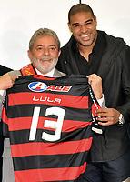 20091214: BRASILIA, BRAZIL - Brazil's President Luiz Inacio Lula da Silva welcomes players and staff of the brazilian league 2009 champions Flamengo, at CCBB in Brasilia. In picture: Lula da Silva with a Flamengo shirt and player Adriano. PHOTO: CITYFILES