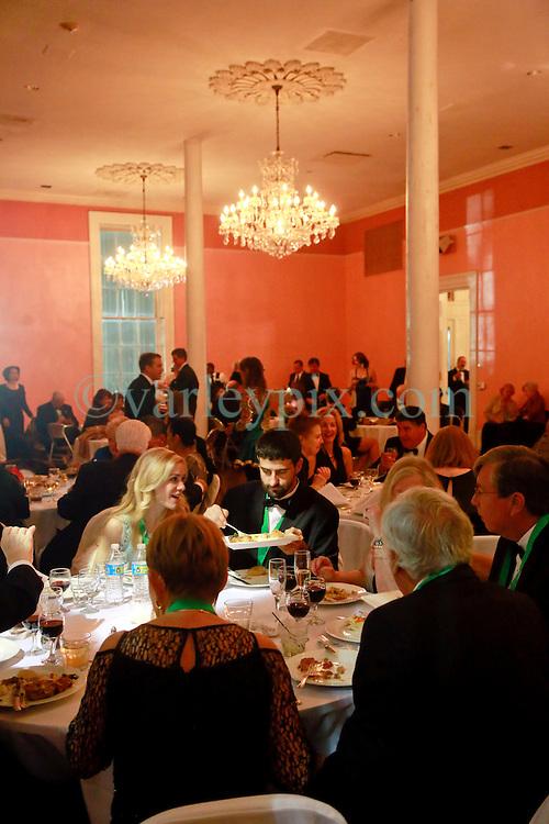 08 November 2014. New Orleans, Louisiana. <br />  2014 International Irish Famine Commemoration, Gallier Hall. Guests enjoying the event.<br /> Photo; Charlie Varley/varleypix.com