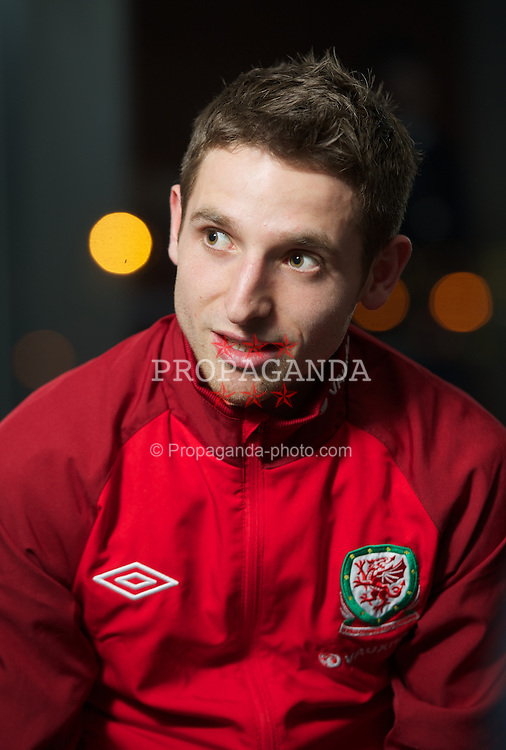CARDIFF, WALES - Monday, February 4, 2013: Wales' Joe Allen during a press conference at the St. David's Hotel ahead of the International Friendly against Austria. (Pic by David Rawcliffe/Propaganda)