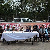 Zinacantepec, México (Abril 25, 2016).- Ingrid Lozano (centro), promotora cultural y vocera del colectivo de artistas mexiquenses Ciudad Digna, durante conferencia de prensa, donde anunció la creación de un Observatorio Ciudadano de Políticas Culturales luego de haber realizado su Jornada Cultural de 48 horas. Agencia MVT / Arturo Hernández.
