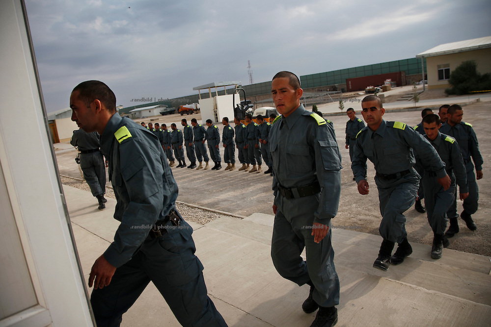 Afghan police recuits during their daily training lessons. German and dutch police servicemen advise afghan trainer and recruits in PTC to improof education standarts of Afghan National Police.